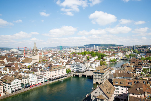 View from the top of the tower, Grossmünster church, Zurich, Switzerland