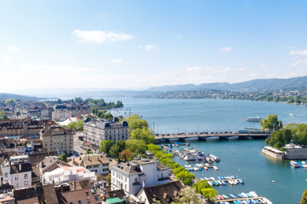 View from the top of the tower of Grossmünster, Zurich, Switzerland