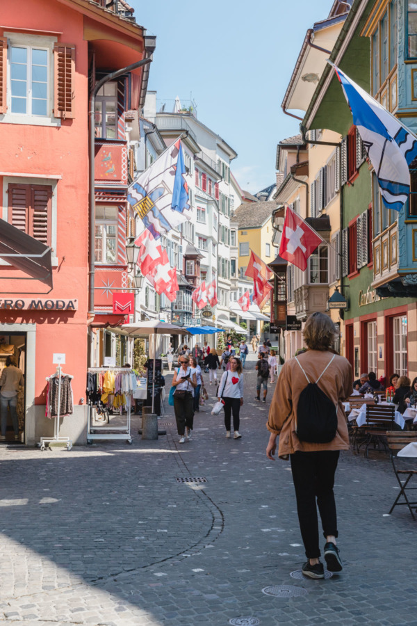 Flag-lined shopping street in Zurich, Switzerland