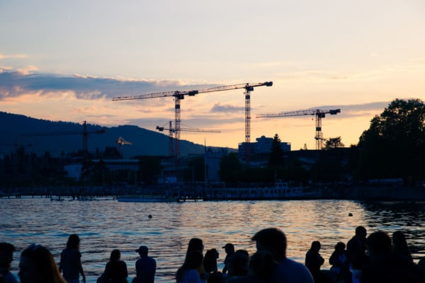 Sunset cranes, Zurich, Switzerland