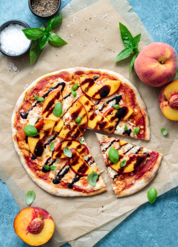 Summer Peach Pizza recipe with goat cheese and balsamic drizzle