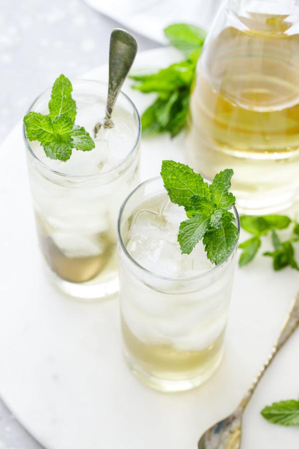 Fresh Mint Tea, served over ice