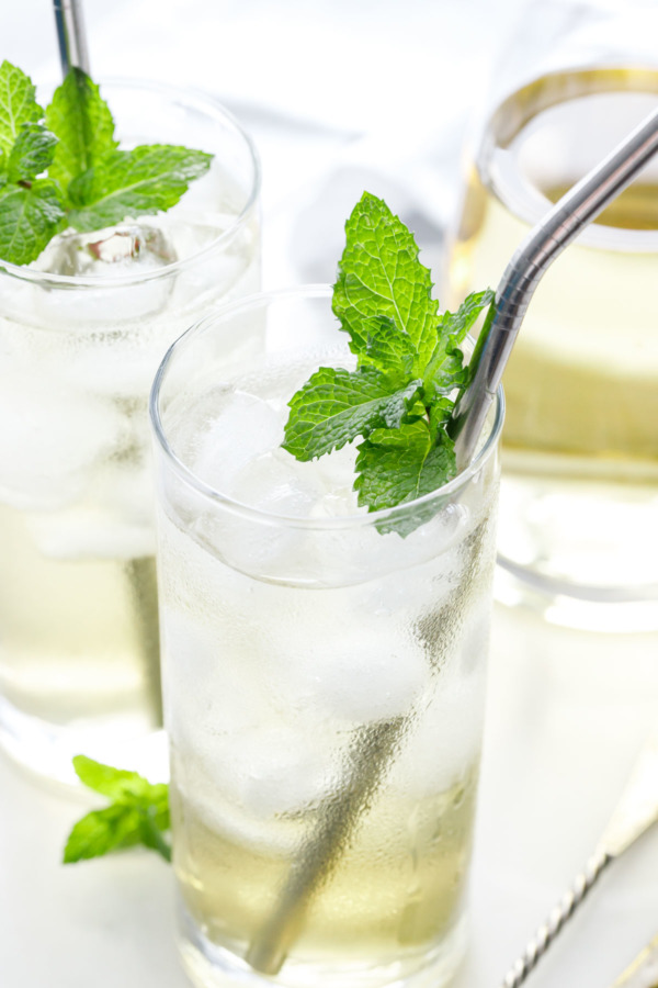 Fresh Mint Iced Tea with Vanilla Mint Sugar Syrup