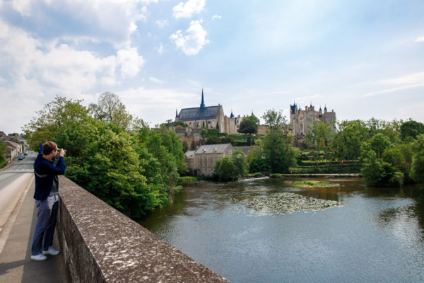 Looking towards the Château from the river Montreuil-Bellay, France