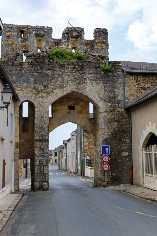 Medieval city gates in Montreuil-Bellay, France