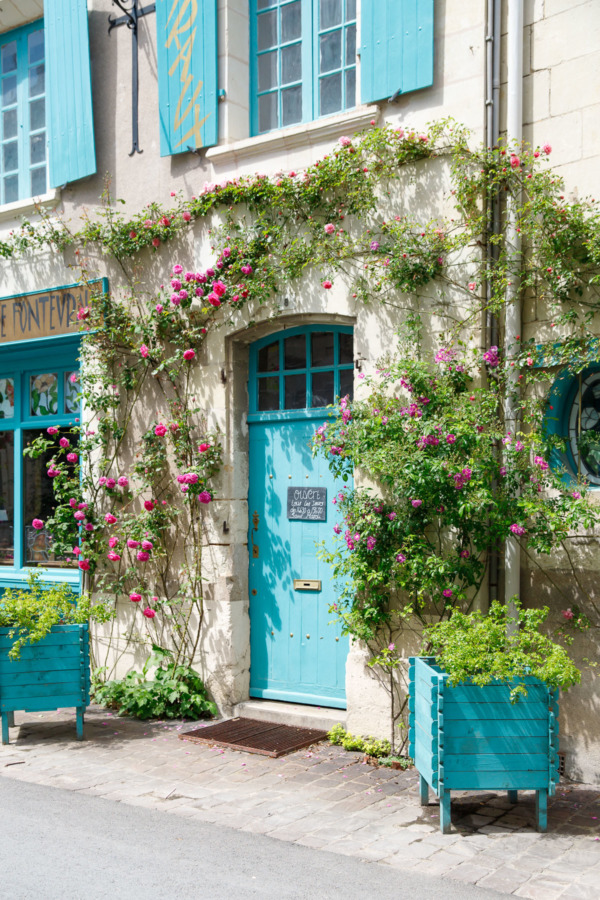 Turquoise doors and roses, Fontevraud-l'Abbaye, France