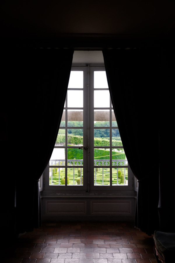 Looking out at the gardens of Château de Villandry, Loire Valley, France