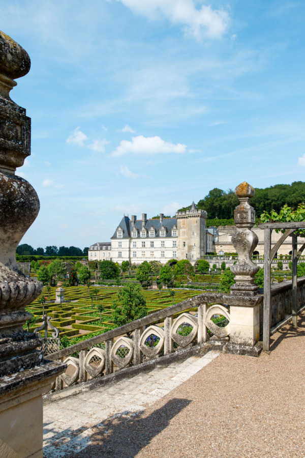 Looking out over the gardens towards the Château de Villandry, Loire Valley, France