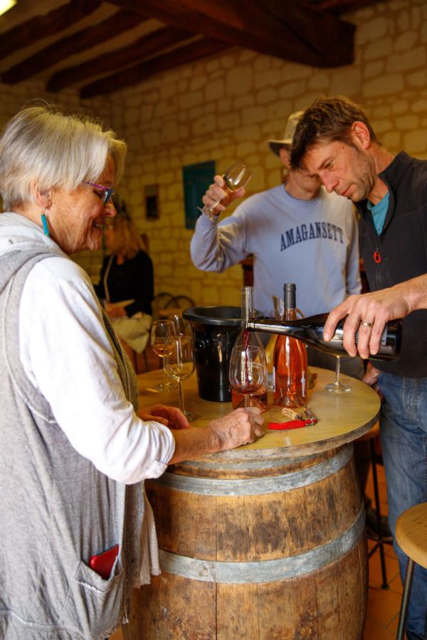 Wine tasting at Le Petit Saint Vincent, Varrains, France
