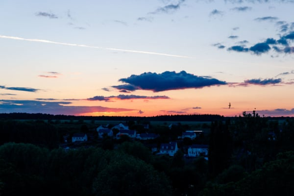 Sunset in Montreuil-Bellay, France