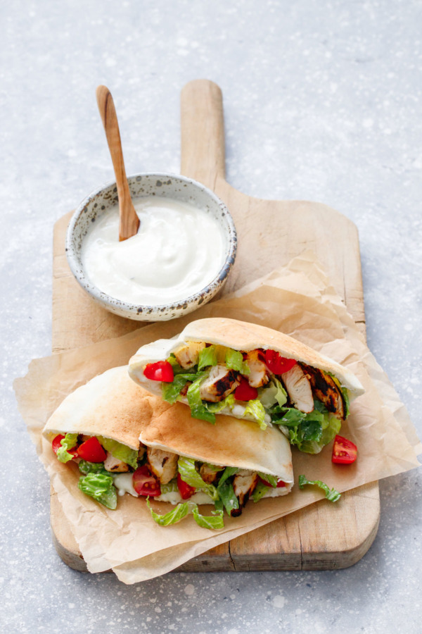 Chicken Caesar Salad Pita with homemade Yogurt Caesar Dressing recipe