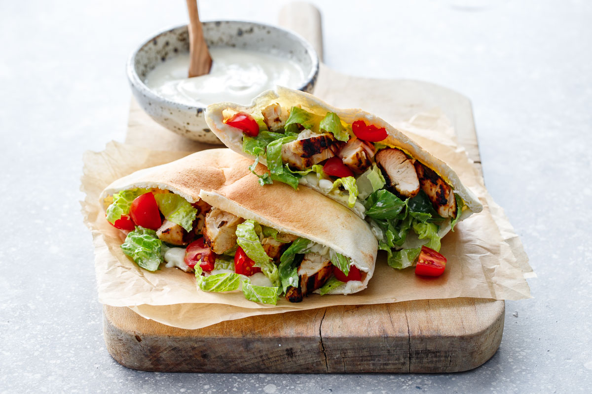 Chicken Caesar Salad Pitas