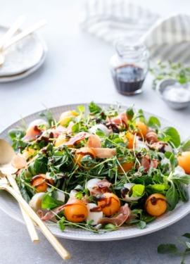 Prosciutto & Melon Salad with Balsamic Vinaigrette