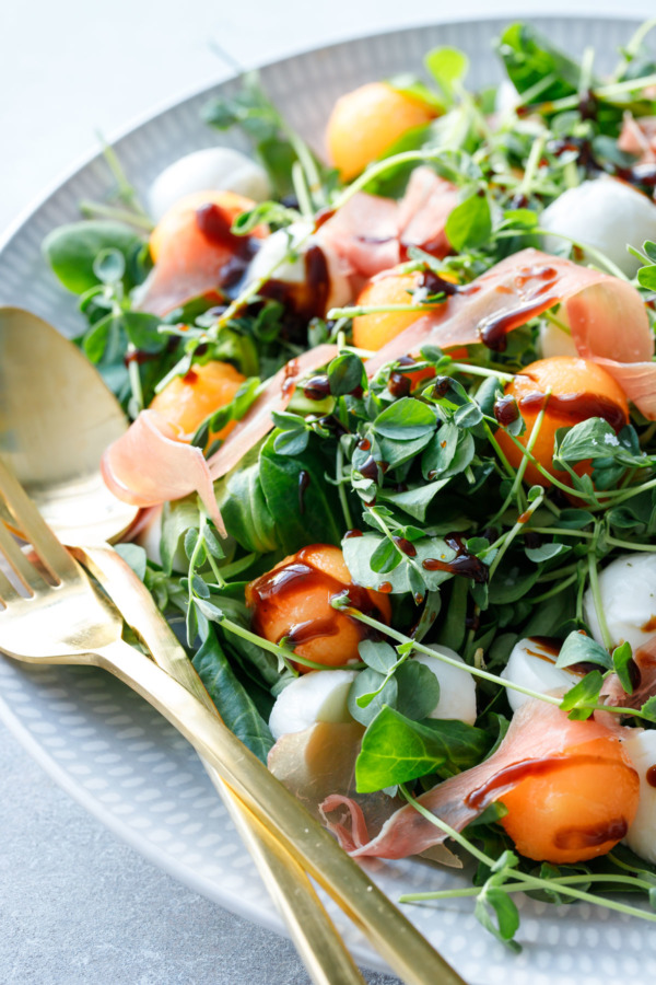 The perfect late-summer salad! Prosciutto & Melon Salad with Balsamic Vinaigrette