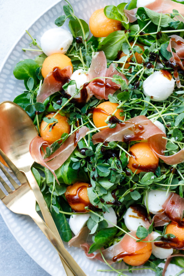 Prosciutto & Melon Salad with Easy Homemade Balsamic Vinaigrette Recipe