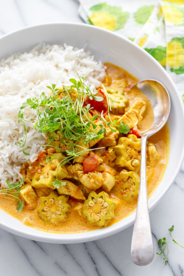 Vadouvan Chicken Curry Recipe with Okra Smoked Basmati Rice