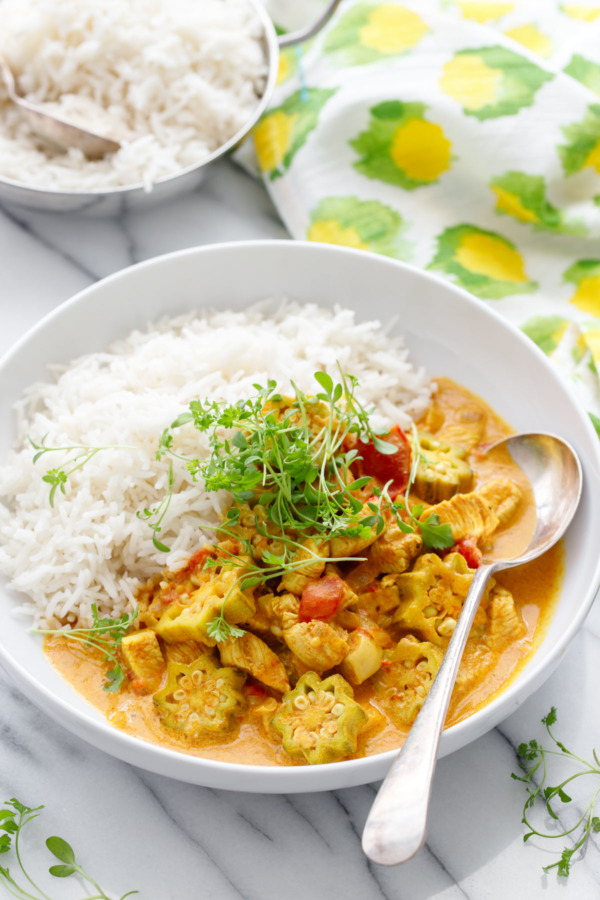 Chicken & Okra Curry Recipe with Smoked Basmati Rice