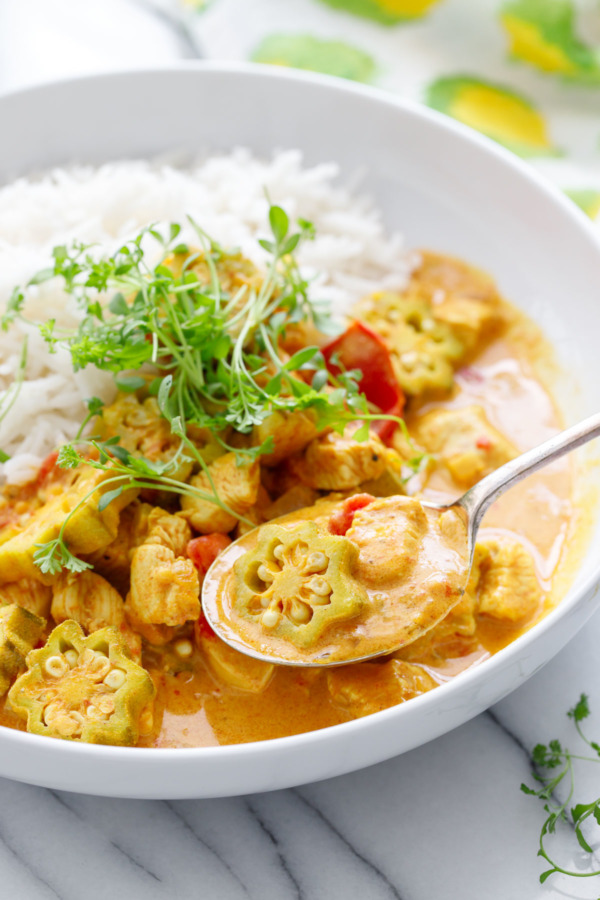 Quick weeknight dinner recipe: Vadouvan Chicken Curry with Smoked Basmati Rice