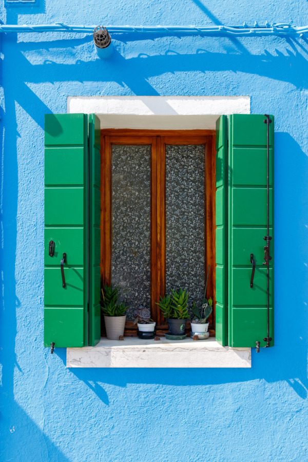 Blue window with green shutters, Burano, Italy