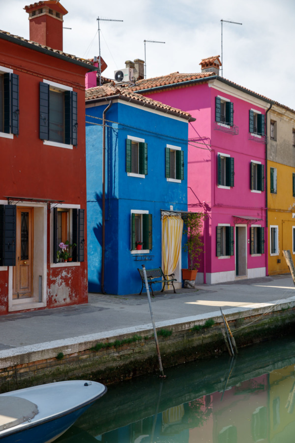 Colorful houses along the canal, Burano, Italy