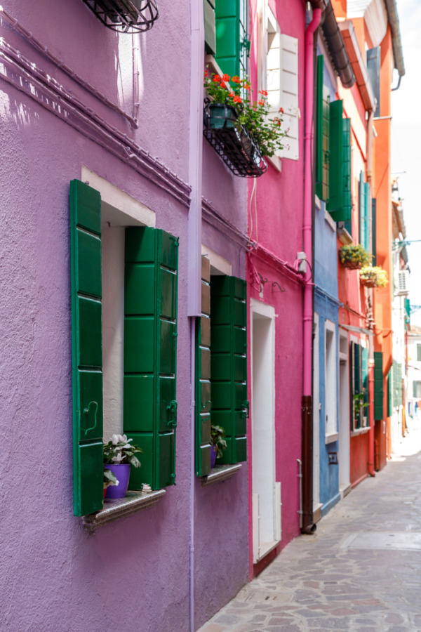 Pastel colored houses, Burano, Italy