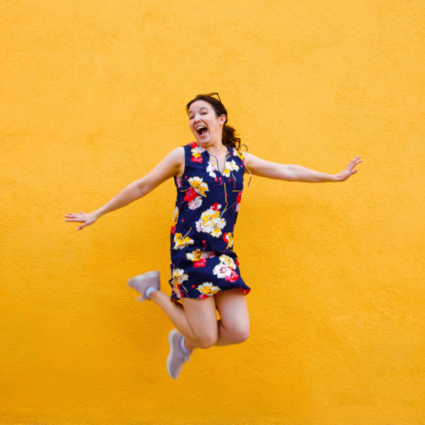 Jumping for joy, Burano, Italy