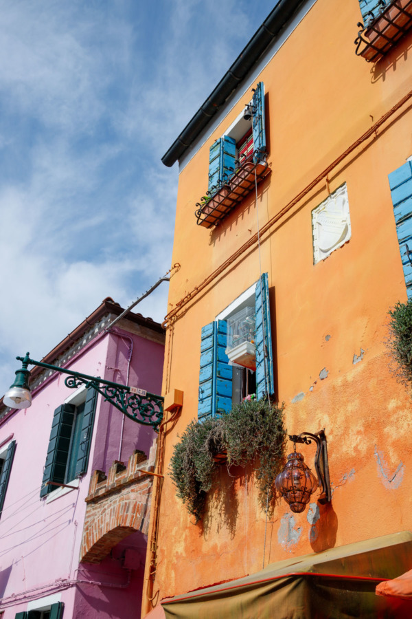 Orange and purple houses, Burano, Italy