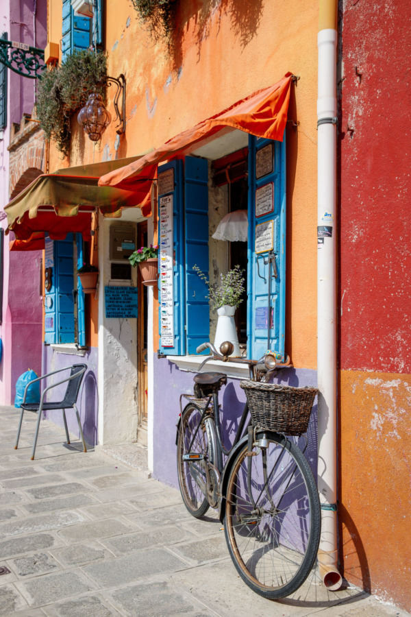 Purple bicycle, Burano, Italy