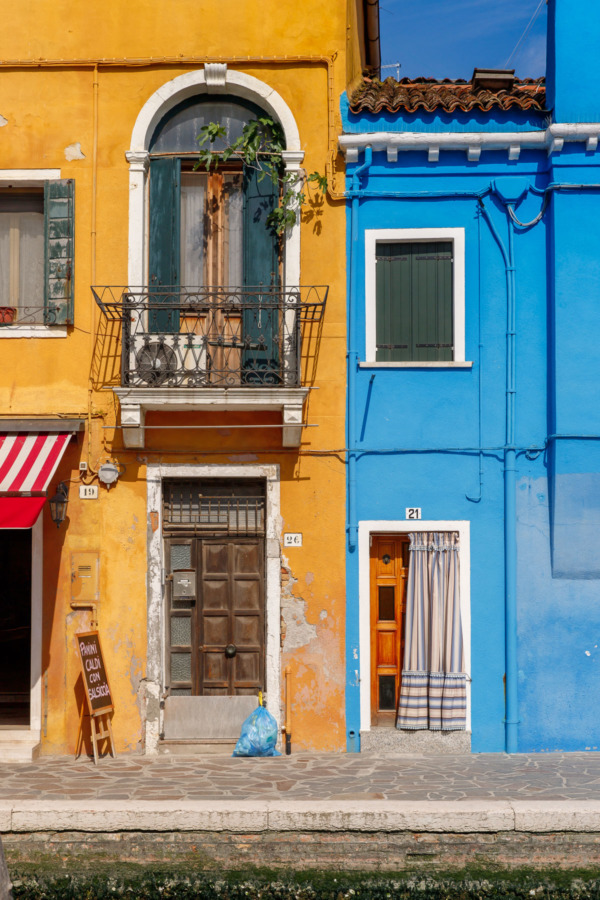 Yellow and blue houses, Burano, Italy
