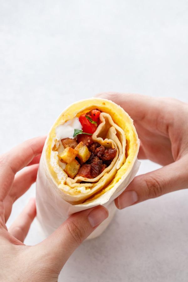 The Best Breakfast Burritos with egg, potato, chorizo and cheese.