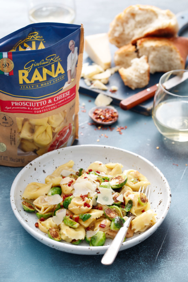 Parmesan & Brussels Sprout Tortelloni featuring Rana Proscuitto & Cheese Tortelloni