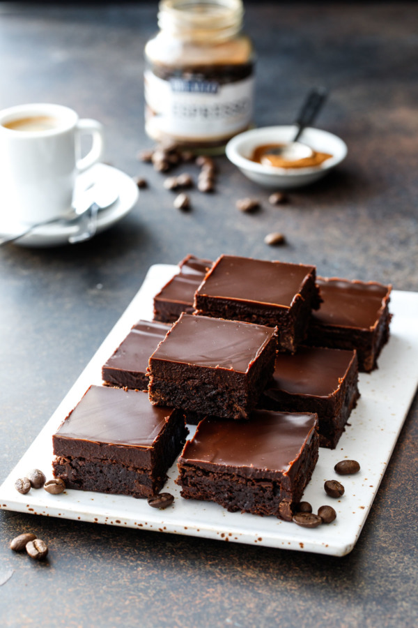 Fudgy Triple Chocolate Brownies with Dark Chocolate Ganache Topping
