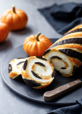 Striped Pumpkin Cake Roll with Mascarpone Whipped Cream