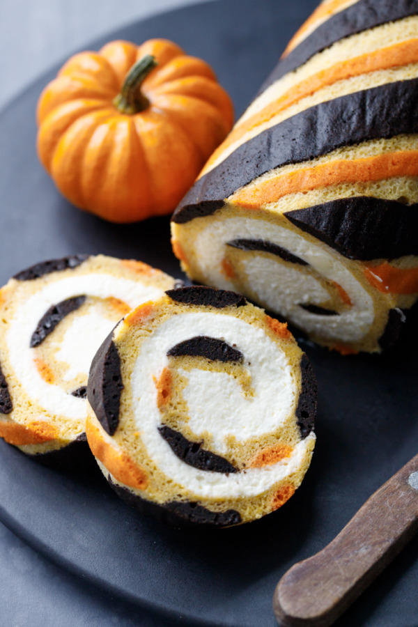 Halloween Pumpkin Cake Roll with Mascarpone Whipped Cream Recipe