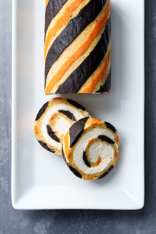 Gorgeous Striped Pumpkin Cake Roll Recipe with Mascarpone Whipped Cream