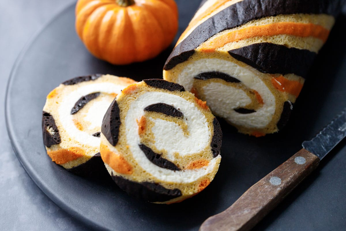 Pumpkin Cake Roll with Mascarpone Whipped Cream