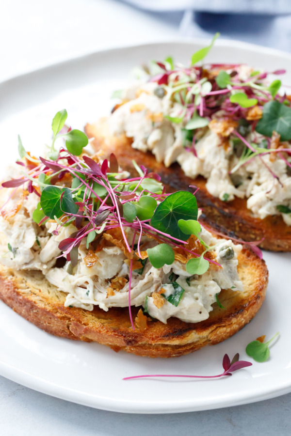Chicken Salad Tartine Toasts with Microgreens and Crispy Chicken Skin