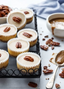Pecan Praline Cheesecake Recipe, mini-sized in muffin tins (perfect for entertaining!)