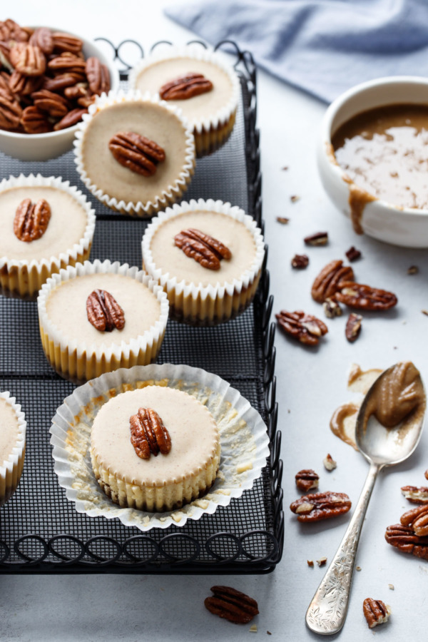 Pecan Praline Mini Cheesecakes with homemade pecan praline paste