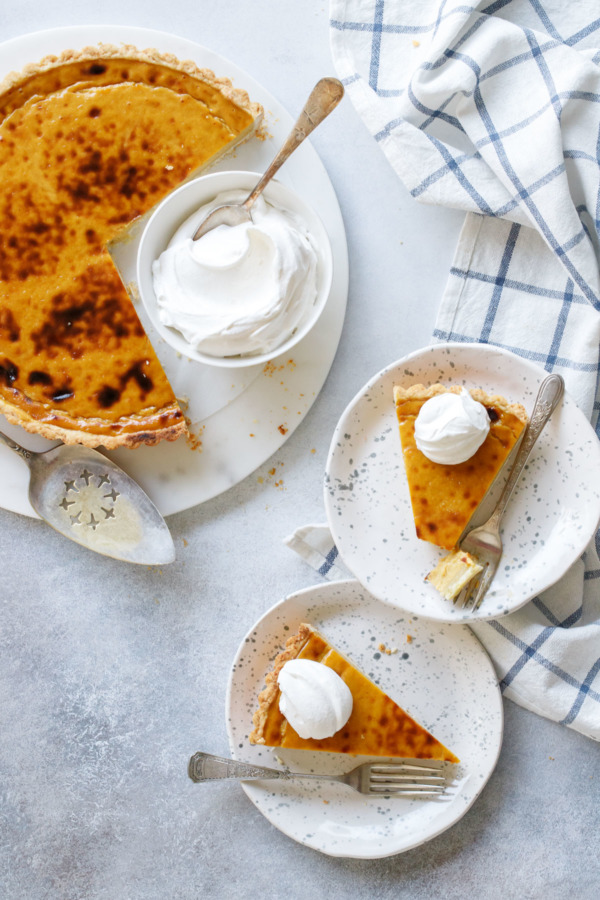 Pumpkin Custard Tart recipe, lighter and creamier than your typical pumpkin pie