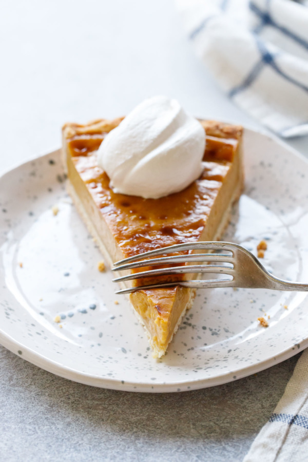 Slice of Pumpkin Custard Tart, oh so creamy!
