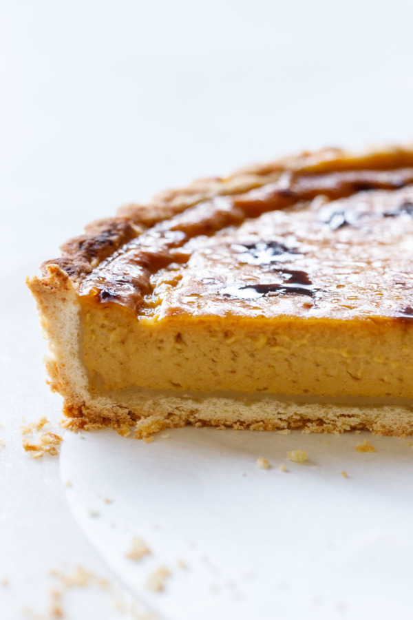 The texture of this Pumpkin Custard Tart is superb, lighter and creamier than your classic pumpkin pie.