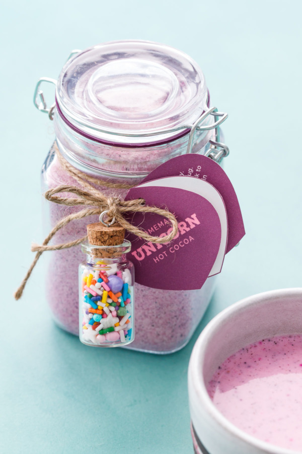 Unicorn Hot Chocolate drink mix with natural pink color: just add hot milk!