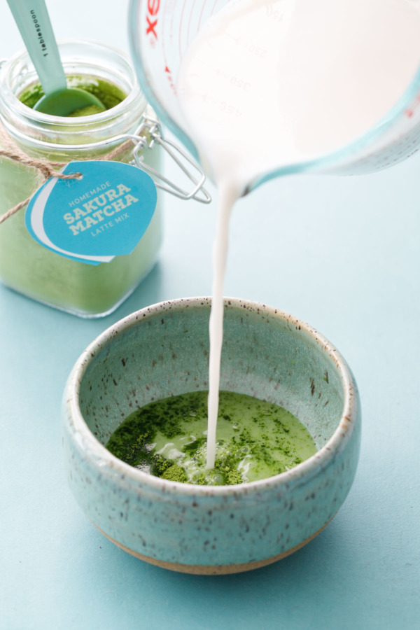 Homemade Sakura Latte Matcha Mix: Just add hot milk!