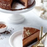 Milk Chocolate and Nutella Brownie Mousse Cake with a gorgeous Chocolate Mirror Glaze