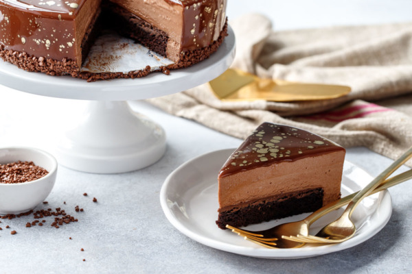 Nutella Brownie Mousse Cake with Milk Chocolate Mirror Glaze