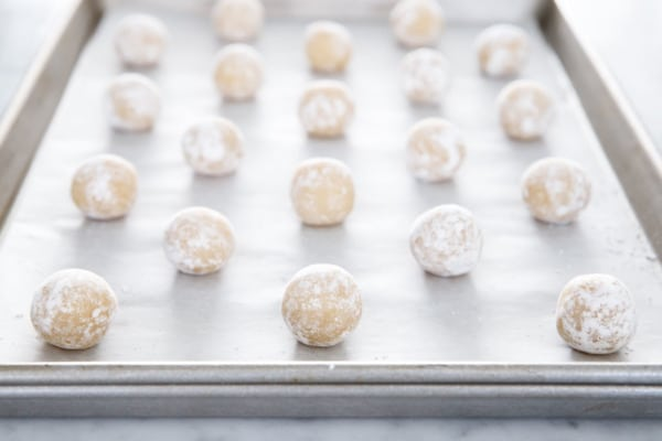 Soft Amaretti Cookies ready to be baked!