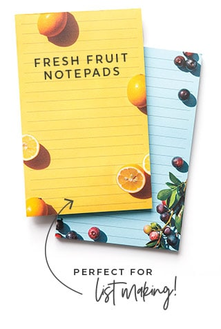 Fresh Fruit Grocery List Notepads