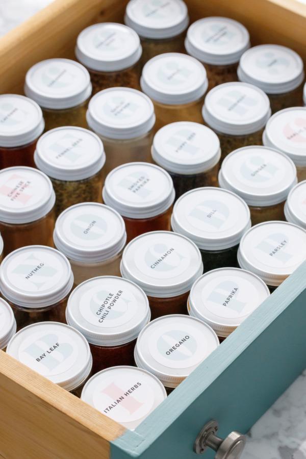 From Allspice to Za'atar: Spice Drawer Organization Tips & Tricks (Plus Printable Spice Jar Labels)