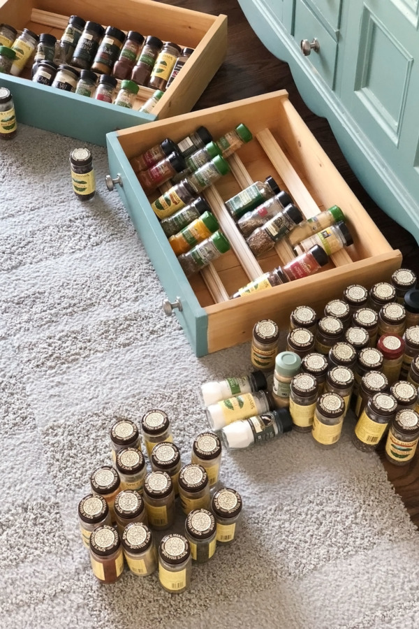 Spice Drawer: Before. Lots of expired spices to get rid of.